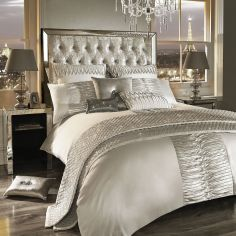 Kylie Minogue Atmosphere Pleated Velvet Duvet Cover - Ivory Cream