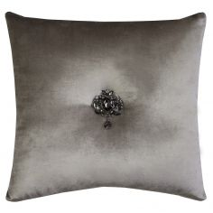 Kylie Minogue Metz Velvet Filled Cushion - Silver Grey