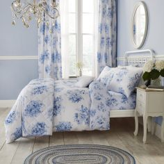 Catherine Lansfield Canterbury Floral Duvet Cover Set - Blue