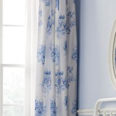 Catherine Lansfield Canterbury Floral Fully Lined Eyelet Curtains - Blue