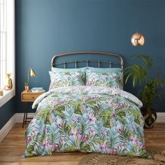 Catherine Lansfield Tropical Leaf Cotton Rich Duvet Cover Set - Multi