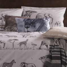 Catherine Lansfield Lion Design Filled Boudoir Cushion - Grey