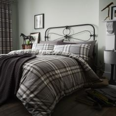 Catherine Lansfield Kelso Tartan Reversible Duvet Cover Set - Charcoal Grey