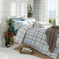 Catherine Lansfield Kelso Tartan Reversible Duvet Cover Set - Duck Egg Blue