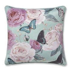 Catherine Lansfield Botanical Butterfly Cushion Cover - Duck Egg Blue