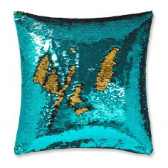 Catherine Lansfield Sequin Mermaid Cushion Cover - Peacock Blue