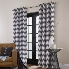 Catherine Lansfield Zig Zag Fully Lined Eyelet Curtains - Charcoal Grey