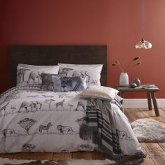 Catherine Lansfield Safari Easy Care Duvet Cover Set - Grey