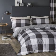 Catherine Lansfield Boston Check Cotton Rich Duvet Cover Set - Black