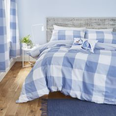 Catherine Lansfield Boston Check Cotton Rich Duvet Cover Set - Blue
