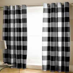Catherine Lansfield Boston Check Fully Lined Eyelet Curtains - Black