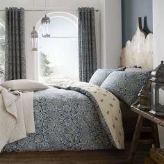 Catherine Lansfield Moroccan Paisley Cotton Rich Duvet Cover Set - Petrol Blue