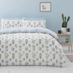 Catherine Lansfield Cactus Easy Care Duvet Cover Set - Green