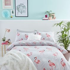 Catherine Lansfield Flamingo Cotton Rich Duvet Cover Set - Grey