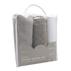 Elli & Raff 3 Piece Moses Basket Set - Grey