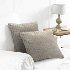 Pack of 2 Distressed Check Cushion Covers - Stone