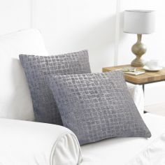 Pack of 2 Distressed Check Cushion Covers - Grey