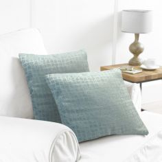 Pack of 2 Distressed Check Cushion Covers - Green