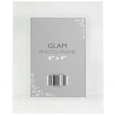 Metallic Look Glam Photo Frame - White