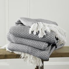 Safi Tasselled Throw with Herringbone Design - Charcoal Grey