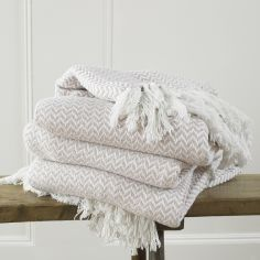 Safi Tasselled Throw with Herringbone Design - Blush
