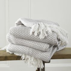 Safi Tasselled Throw with Herringbone Design - Linen