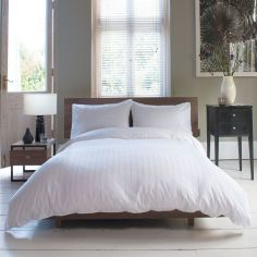 Hotel Quality Vintage Weave 100% Cotton White Duvet Cover Set