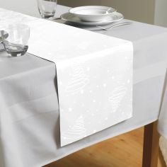 Festive Jacquard Christmas Trees Table Runner -  White