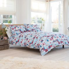 Harbour Reversible 100% Cotton Duvet Cover Set - Blue & Red