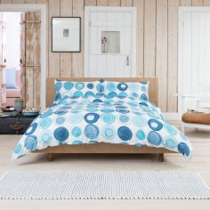 Retro 100% Cotton Duvet Cover Set - Blue