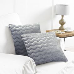 Pack of 2 Wavy Cushion Covers - Grey