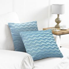 Pack of 2 Wavy Cushion Covers - Teal Blue