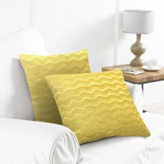 Pack of 2 Wavy Cushion Covers - Ochre Yellow