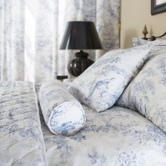 Toile De Jouy Vintage Filled Bolster Cushion - Blue