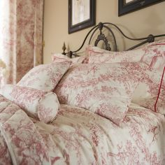 Toile De Jouy Vintage Filled Bolster Cushion - Pink