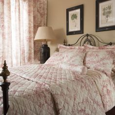 Toile De Jouy Vintage 100% Cotton Duvet Cover - Pink