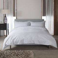 Hotel Quality Santa Fe Plain 100% Cotton Duvet Cover Set - Light Grey