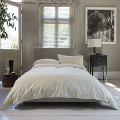 Hotel Quality Santa Fe Plain 100% Cotton Duvet Cover Set - Natural