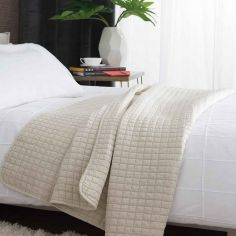 Tamarind Quilted Microfibre Bedspread Throw - Natural