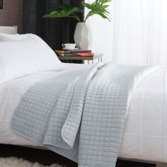 Tamarind Quilted Microfibre Bedspread Throw - Duck Egg Blue