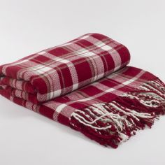 Rossendale Check Tassel Throw - Red & Cream