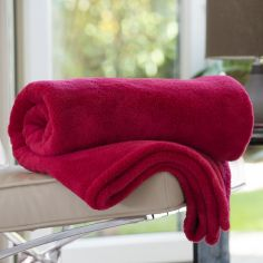 Roosevelt Soft Fleece Throw - Berry Red