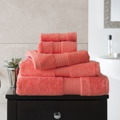 Bliss Pima 100% Cotton 650gsm Bathroom Towel - Coral Orange
