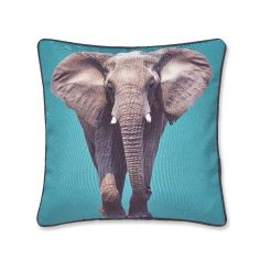 Catherine Lansfield Elephant Cushion Cover - Teal Blue