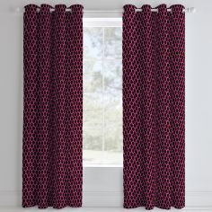 Catherine Lansfield Neon Football Fully Lined Eyelet Curtains - Pink