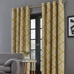 Catherine Lansfield Aztec Fully Lined Eyelet Curtains - Ochre Yellow