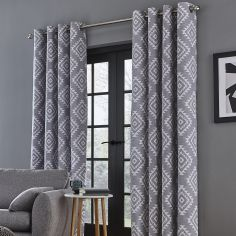 Catherine Lansfield Aztec Fully Lined Eyelet Curtains - Silver Grey