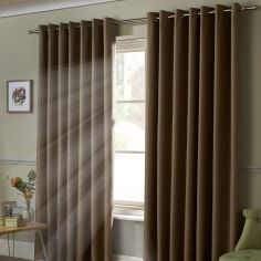 Thermal 100% Blackout Eyelet Curtains - Beige Natural