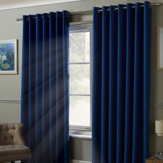 Thermal 100% Blackout Eyelet Curtains - Blue