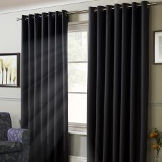 Thermal 100% Blackout Eyelet Curtains - Charcoal Grey